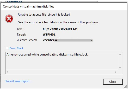 Error Occurred While Consolidating disks msg fileio lock