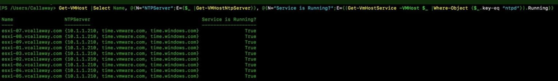 Bulk Check ESXi NTP Service & Settings - vCallaway
