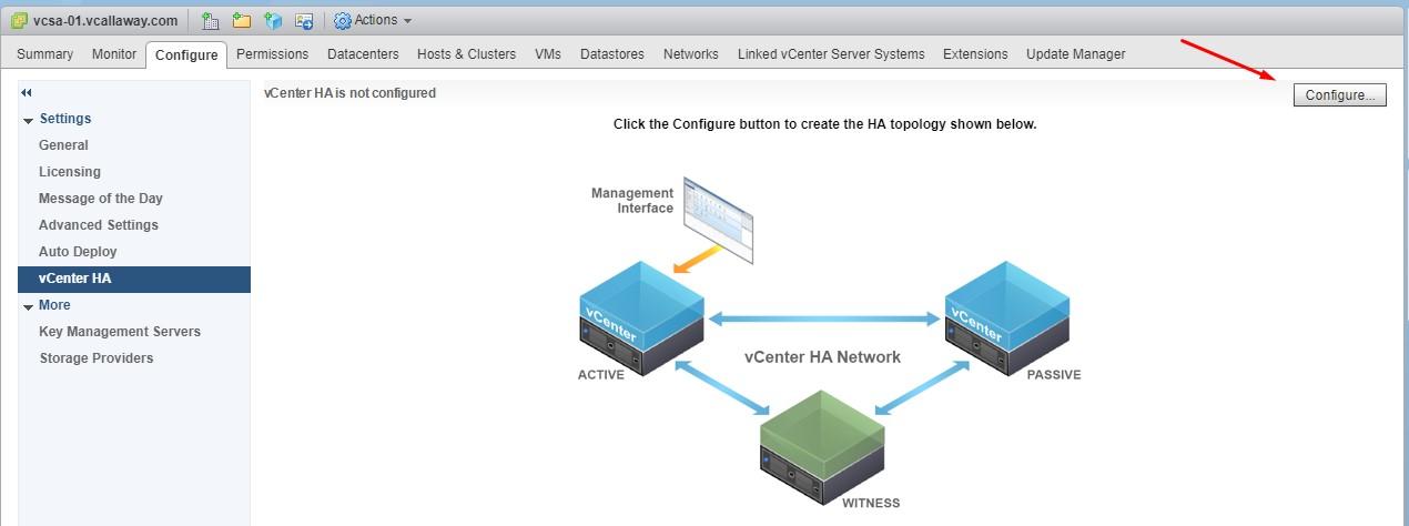 Configure vCenter HA for vSphere 6 7 (Basic Option) - vCallaway